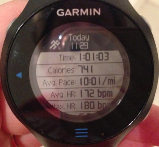 Garmin Screen of first marathon training run